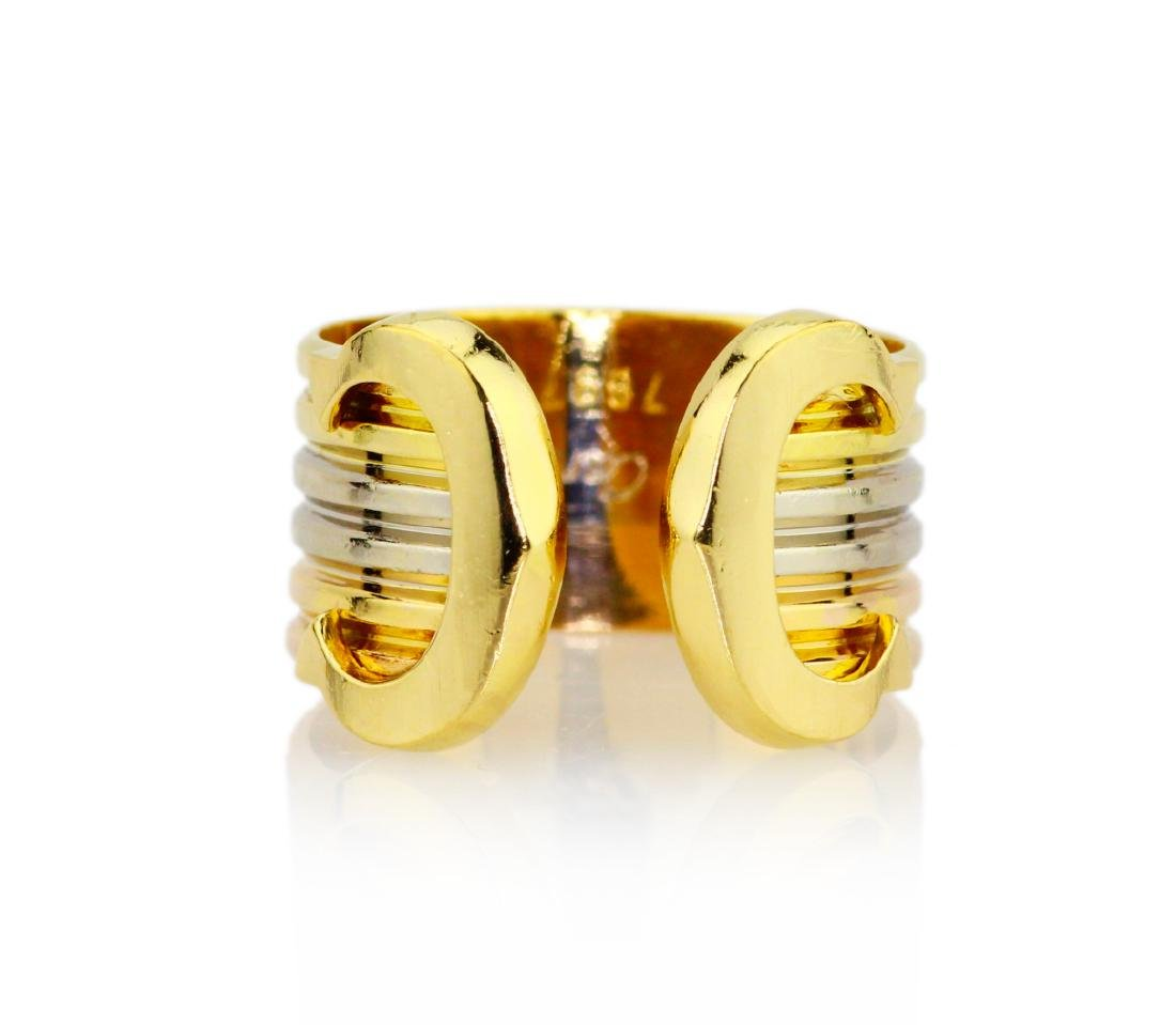 Cartier 18K Tri-Colored Gold Double C Decor Ring