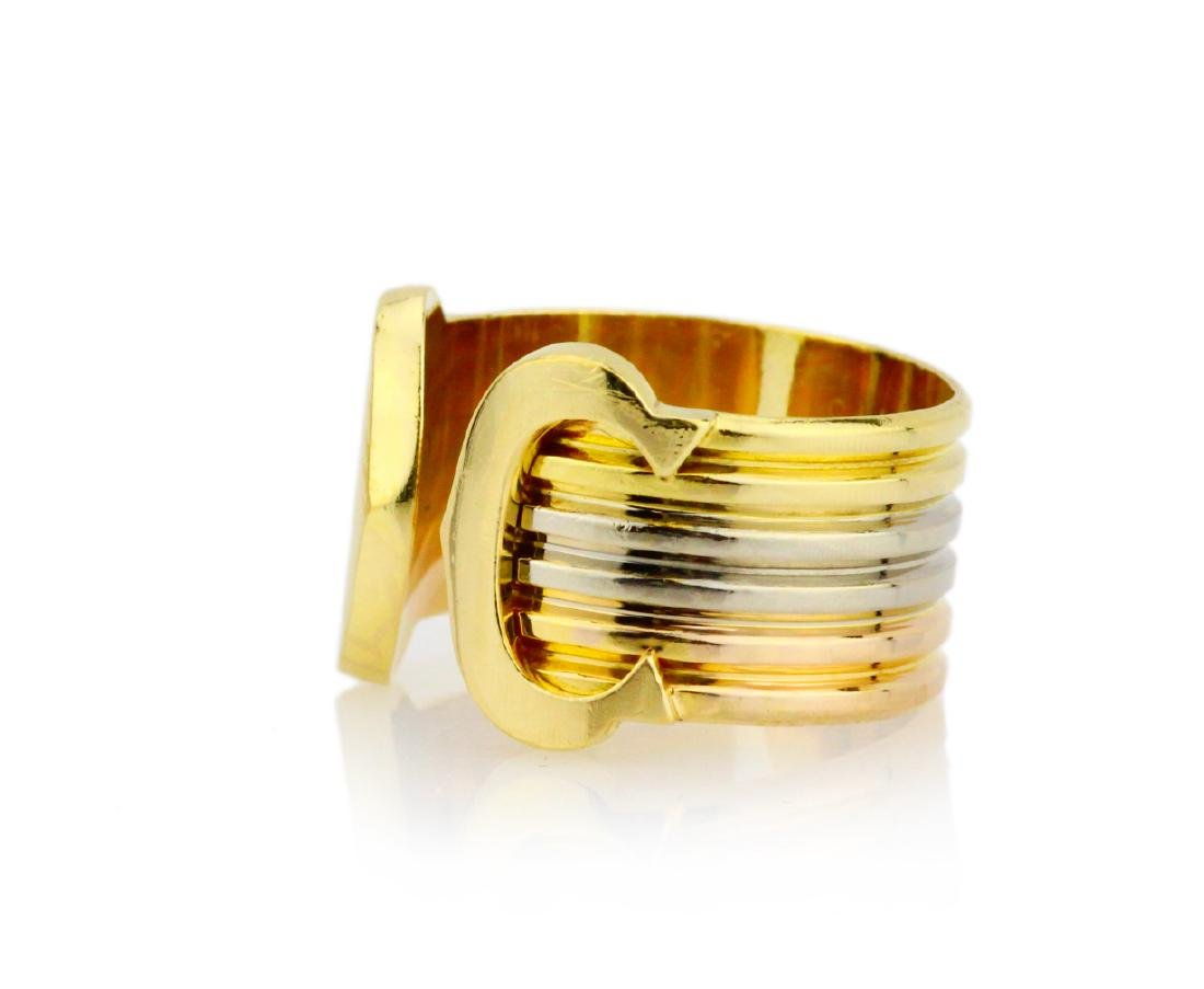 Cartier 18K Tri-Colored Gold Double C Decor Ring - 2