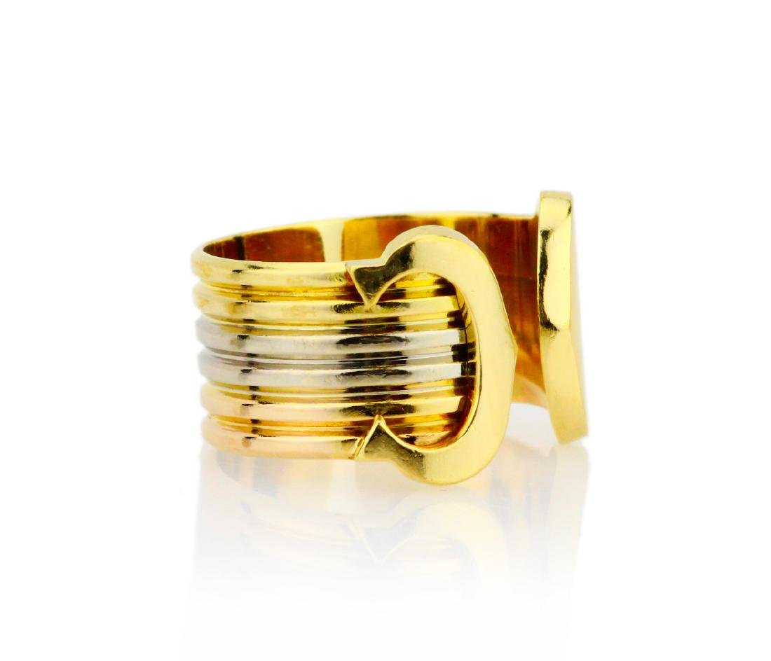 Cartier 18K Tri-Colored Gold Double C Decor Ring - 3