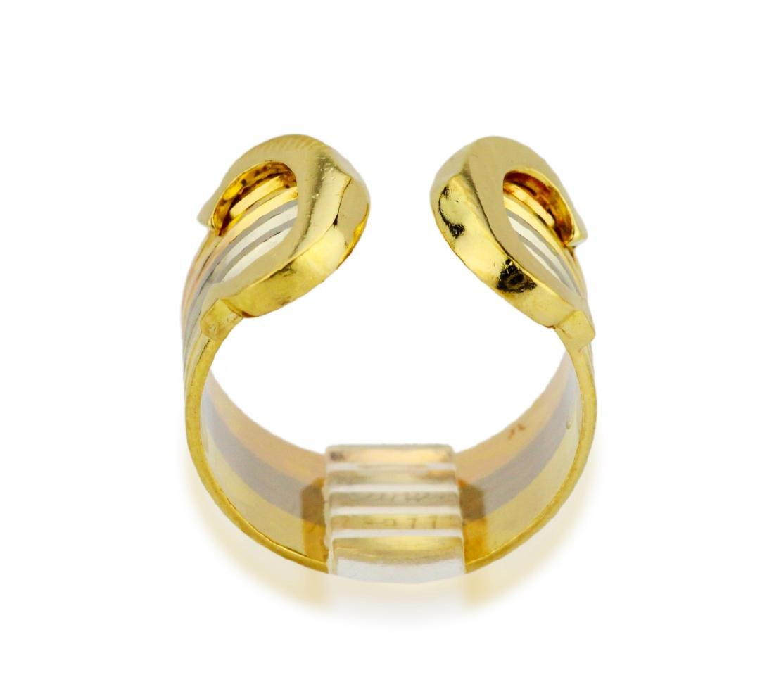 Cartier 18K Tri-Colored Gold Double C Decor Ring - 5