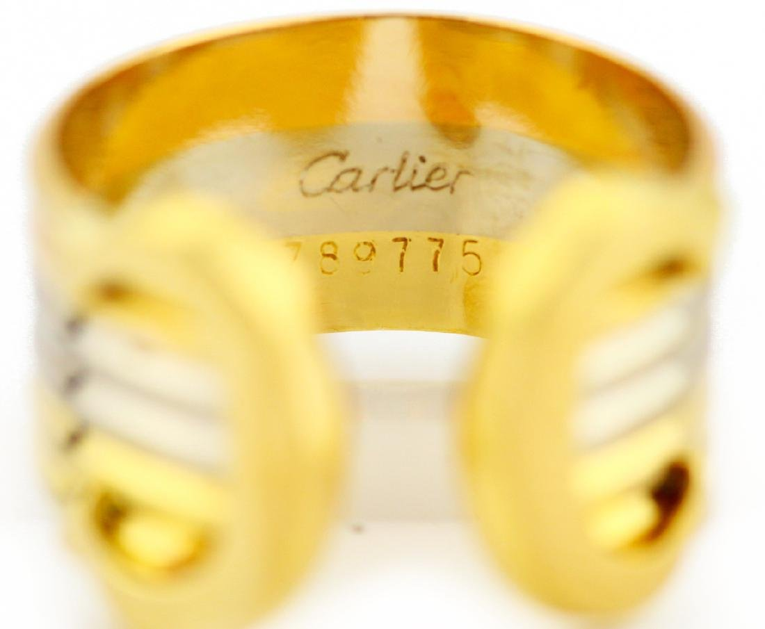 Cartier 18K Tri-Colored Gold Double C Decor Ring - 6