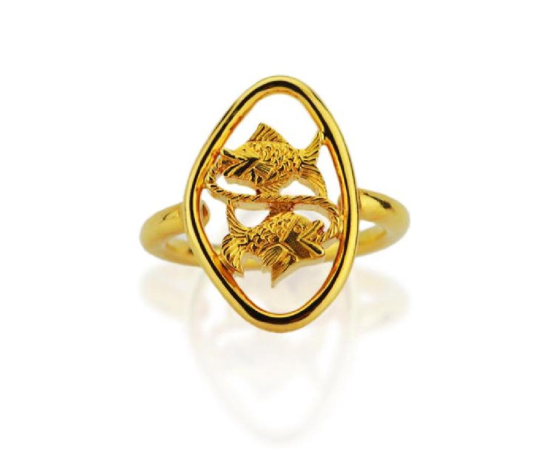 Boucheron 18K Yellow Gold Dueling Fish Ring