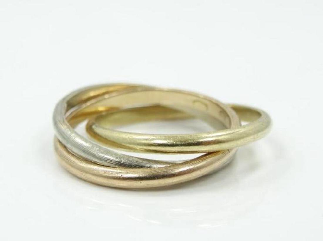 Cartier 18K Tri-Color Gold Trinity Rolling Ring - 3