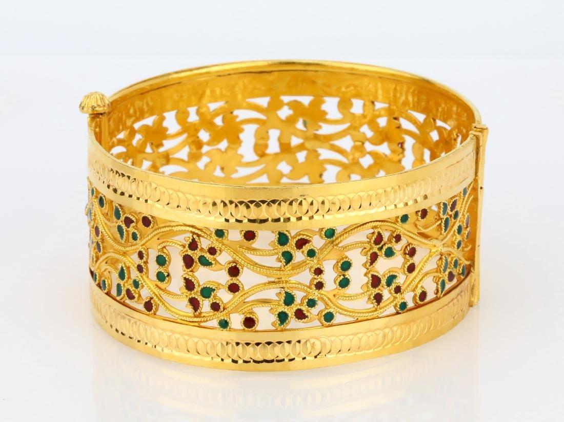 22K Yellow Gold 28mm Bangle Bracelet W/Enamel