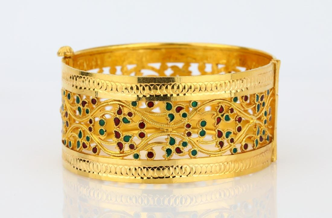 22K Yellow Gold 28mm Bangle Bracelet W/Enamel - 2