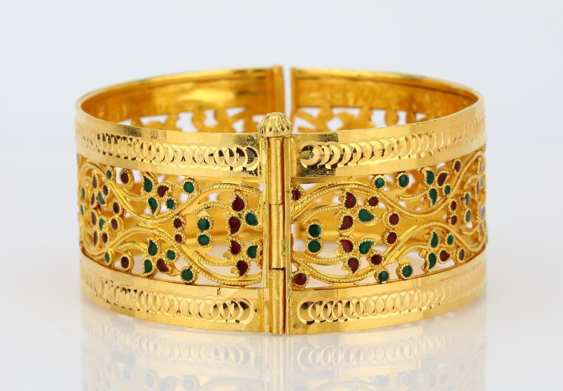 22K Yellow Gold 28mm Bangle Bracelet W/Enamel - 3
