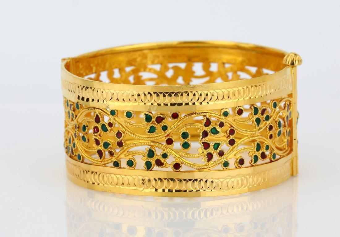22K Yellow Gold 28mm Bangle Bracelet W/Enamel - 4