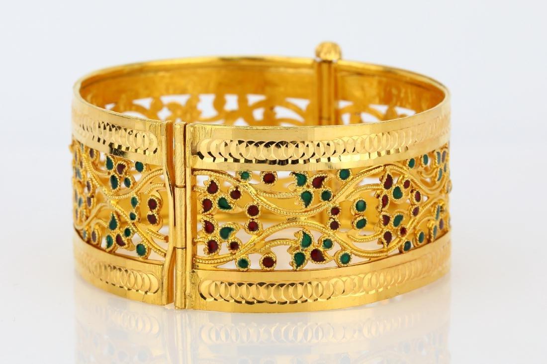 22K Yellow Gold 28mm Bangle Bracelet W/Enamel - 5