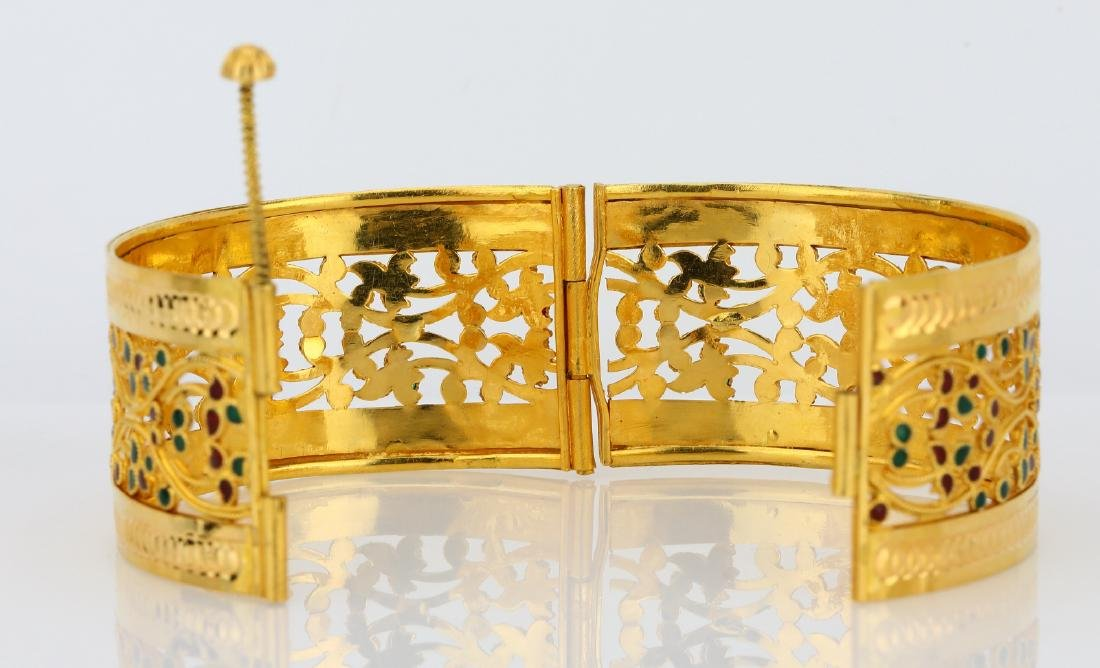 22K Yellow Gold 28mm Bangle Bracelet W/Enamel - 6