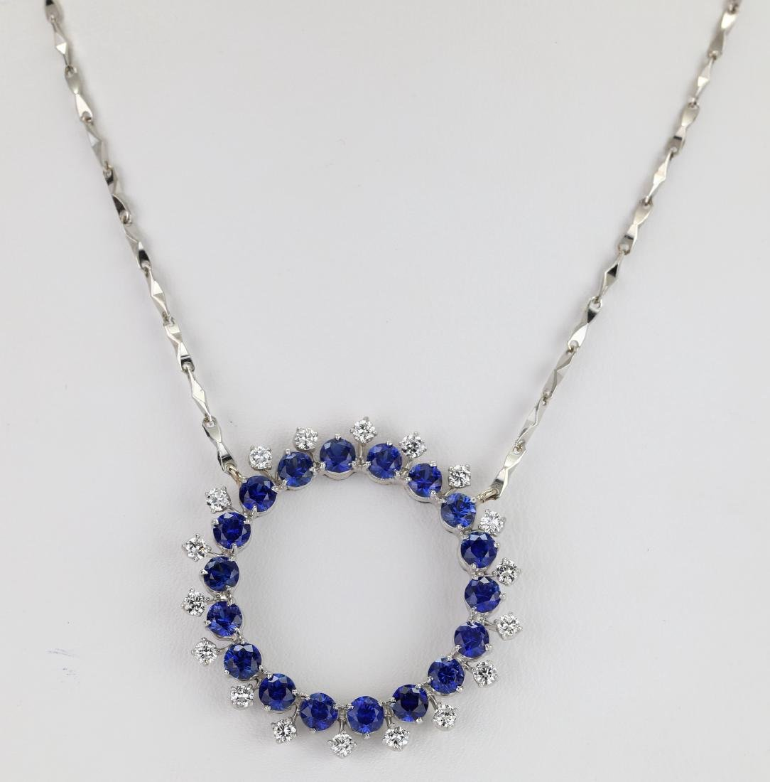 3.7ctw Blue Sapphire & Diamond Platinum Necklace