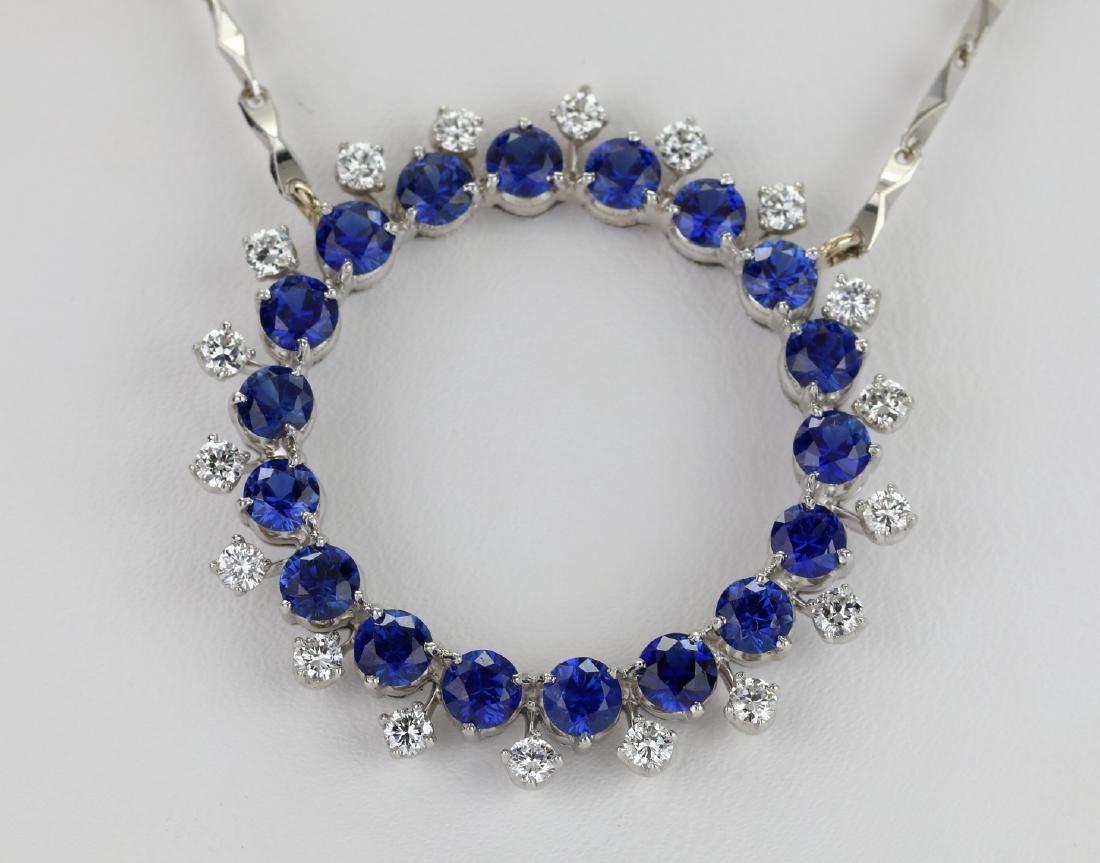 3.7ctw Blue Sapphire & Diamond Platinum Necklace - 2