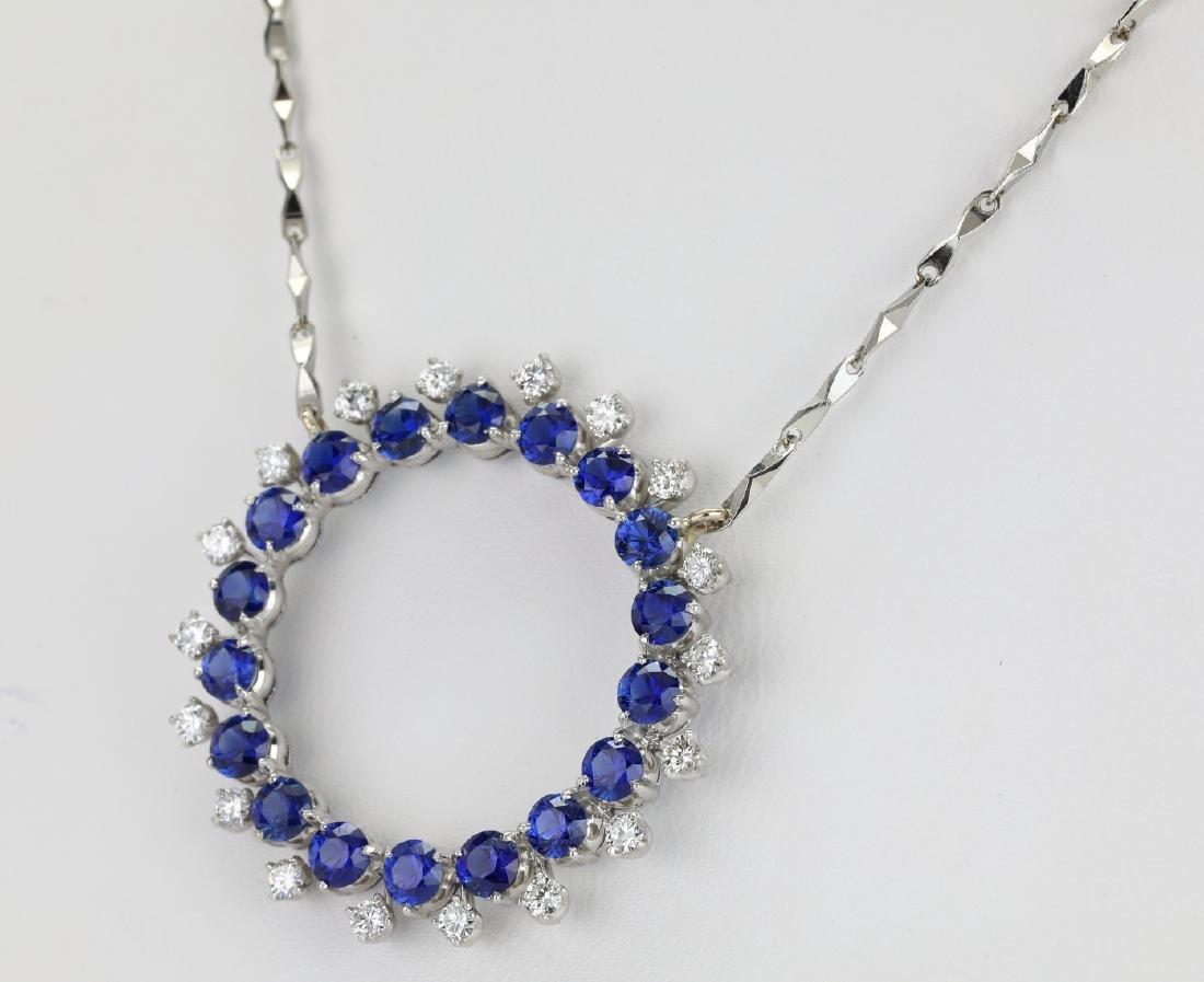 3.7ctw Blue Sapphire & Diamond Platinum Necklace - 3