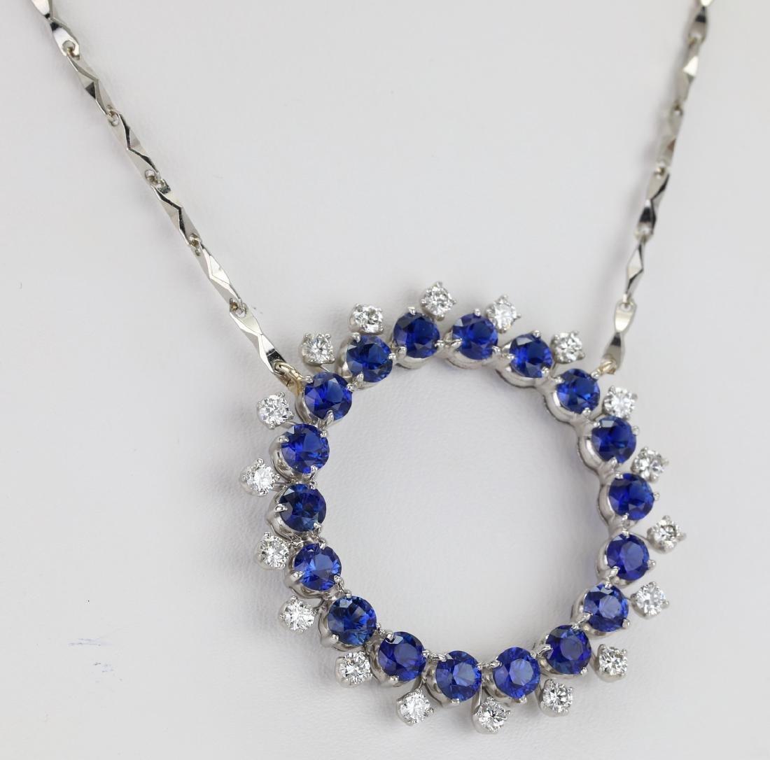 3.7ctw Blue Sapphire & Diamond Platinum Necklace - 4