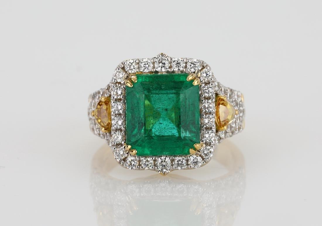 4.5ct Emerald, 1.5ctw Multi-Color Diamond 18K Ring