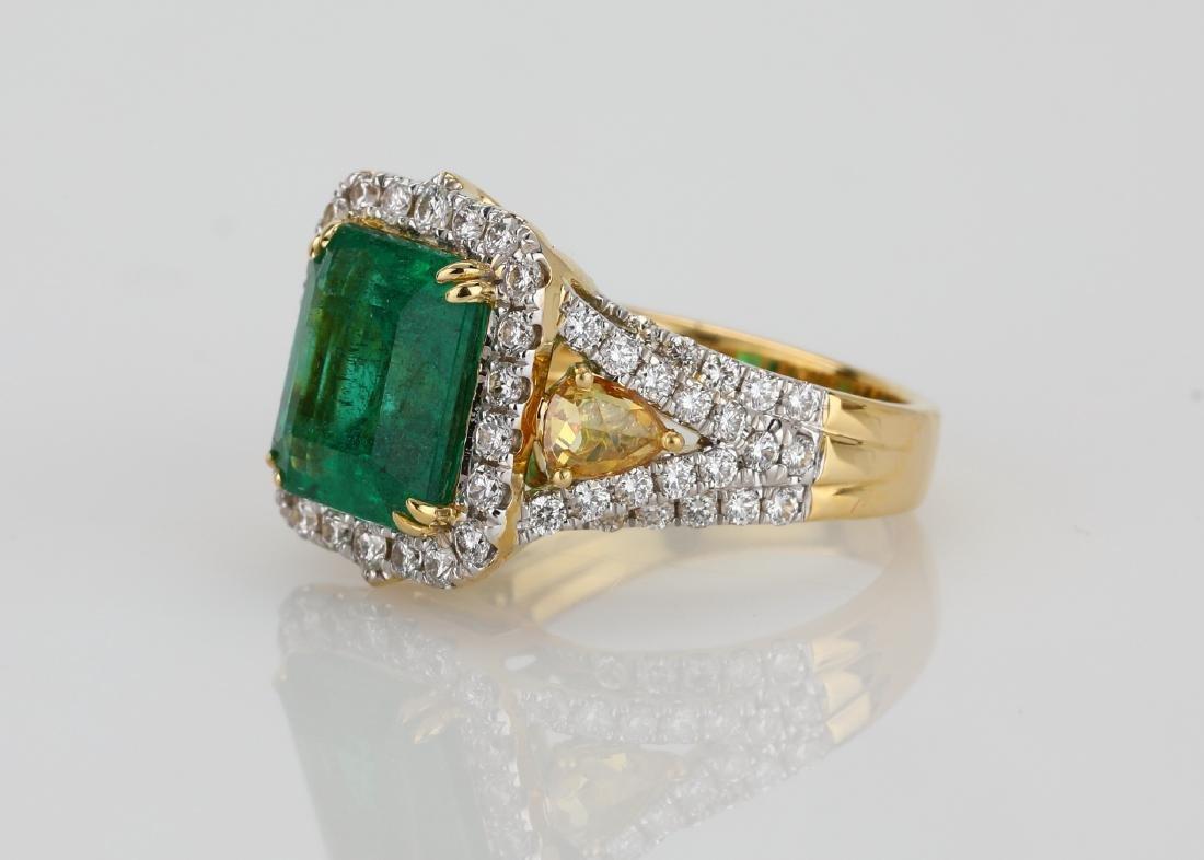 4.5ct Emerald, 1.5ctw Multi-Color Diamond 18K Ring - 2