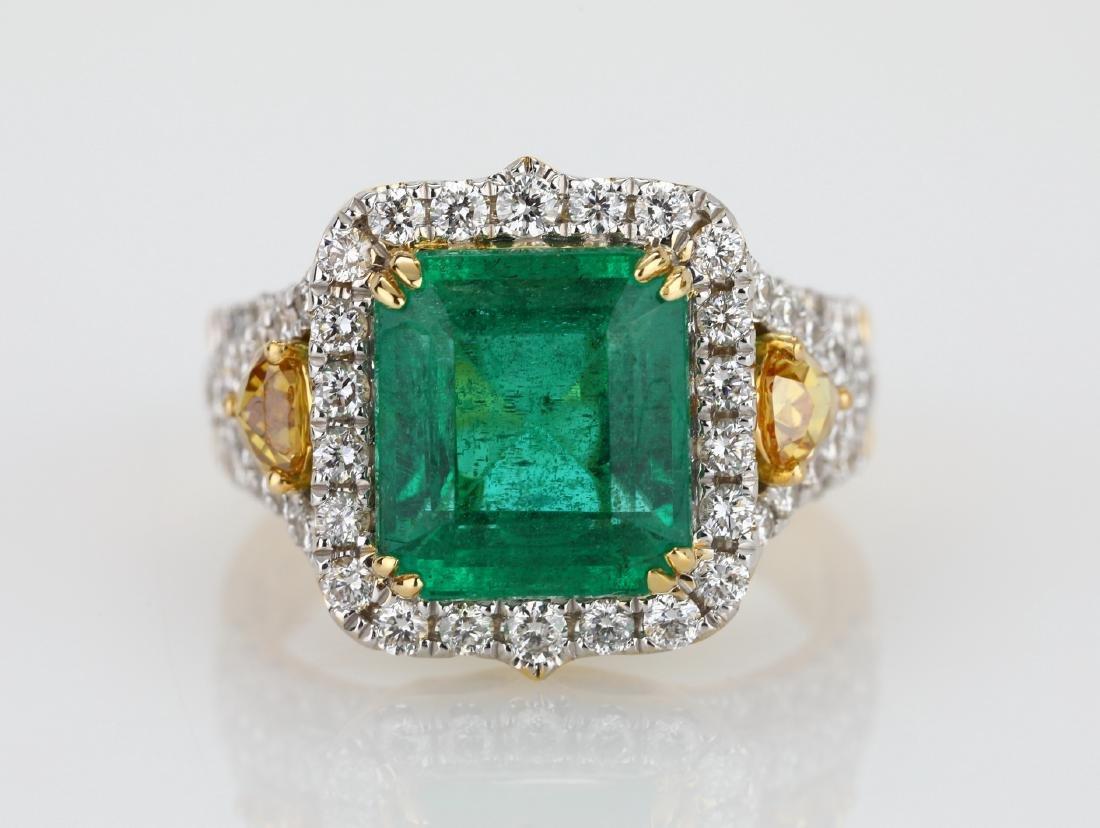4.5ct Emerald, 1.5ctw Multi-Color Diamond 18K Ring - 4