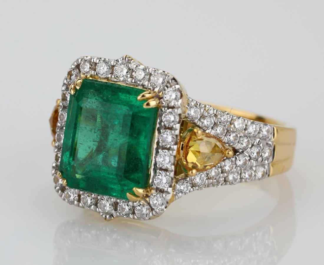 4.5ct Emerald, 1.5ctw Multi-Color Diamond 18K Ring - 5