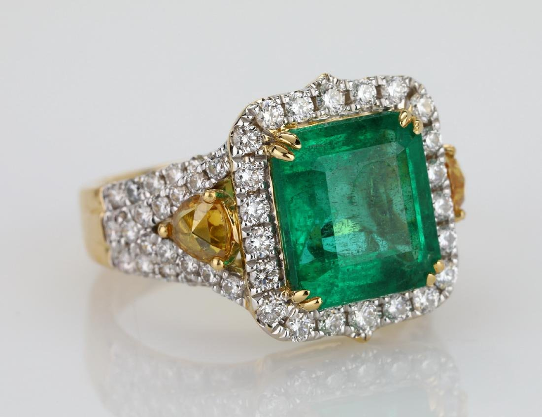 4.5ct Emerald, 1.5ctw Multi-Color Diamond 18K Ring - 6
