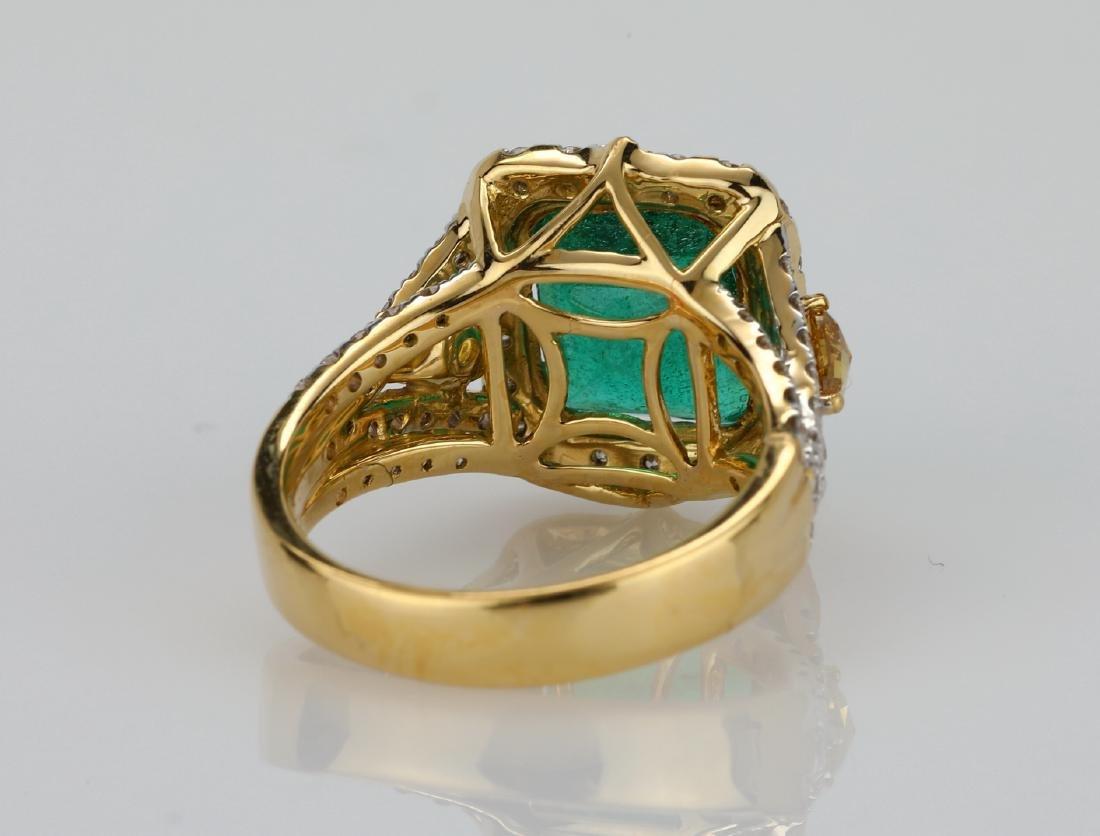 4.5ct Emerald, 1.5ctw Multi-Color Diamond 18K Ring - 7