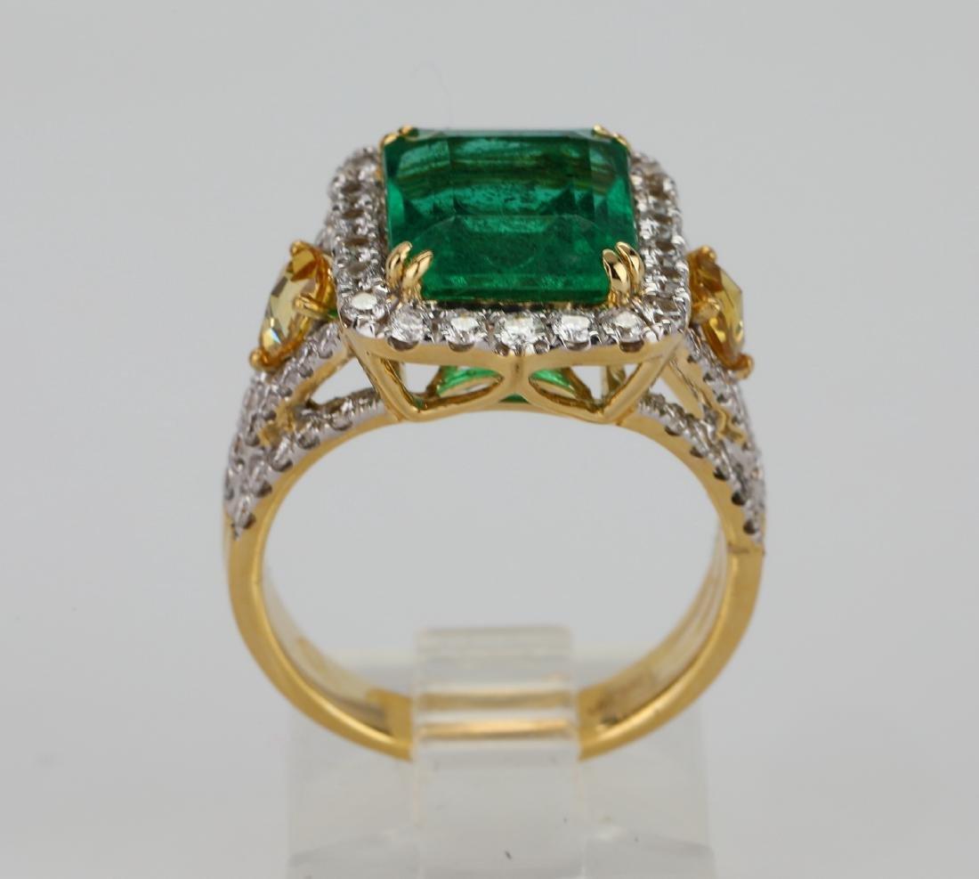 4.5ct Emerald, 1.5ctw Multi-Color Diamond 18K Ring - 8