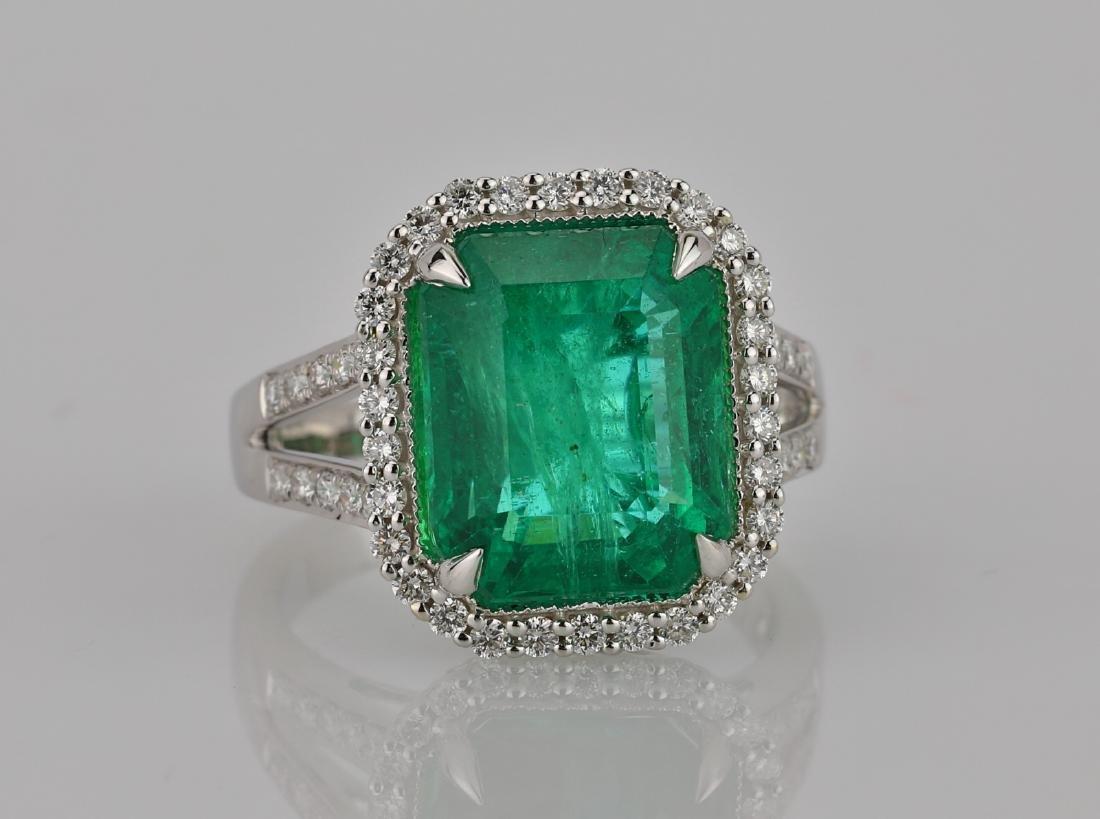 8.00ct Emerald, 0.75ctw Diamond & 18K Ring