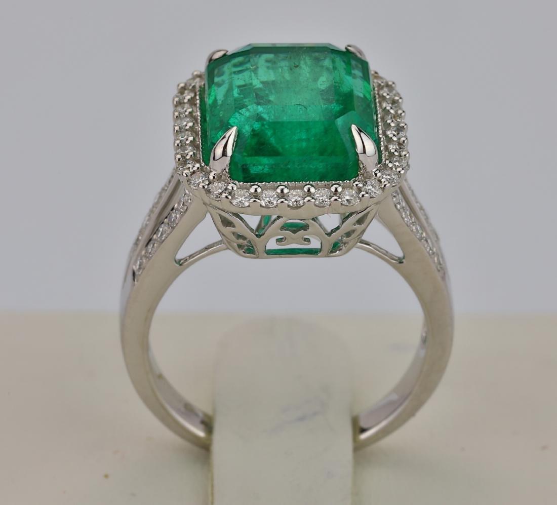 8.00ct Emerald, 0.75ctw Diamond & 18K Ring - 7