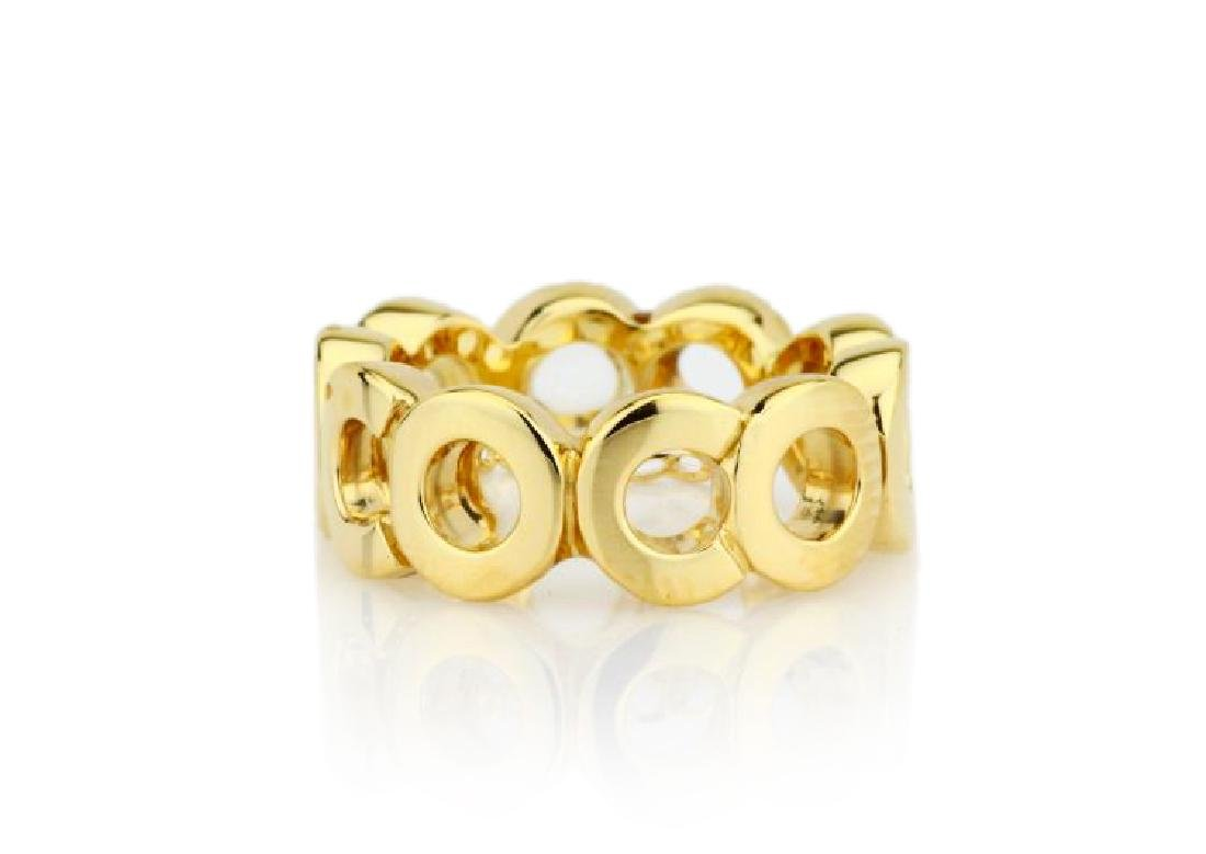 """Chanel Solid 18K Yellow Gold 8mm Wide """"Coco"""" Band"""