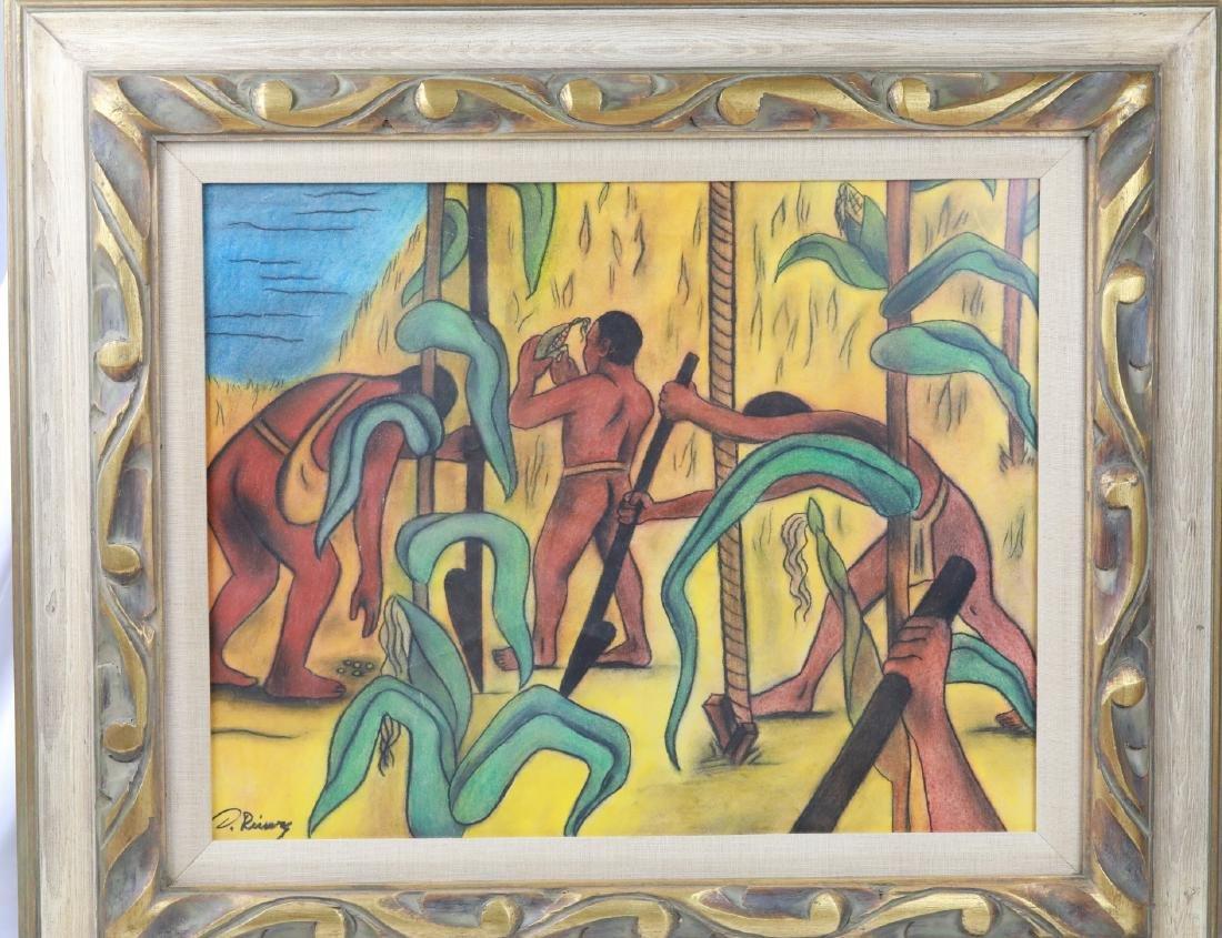 Diego Rivera Original Mixed Media on Paper W/COA