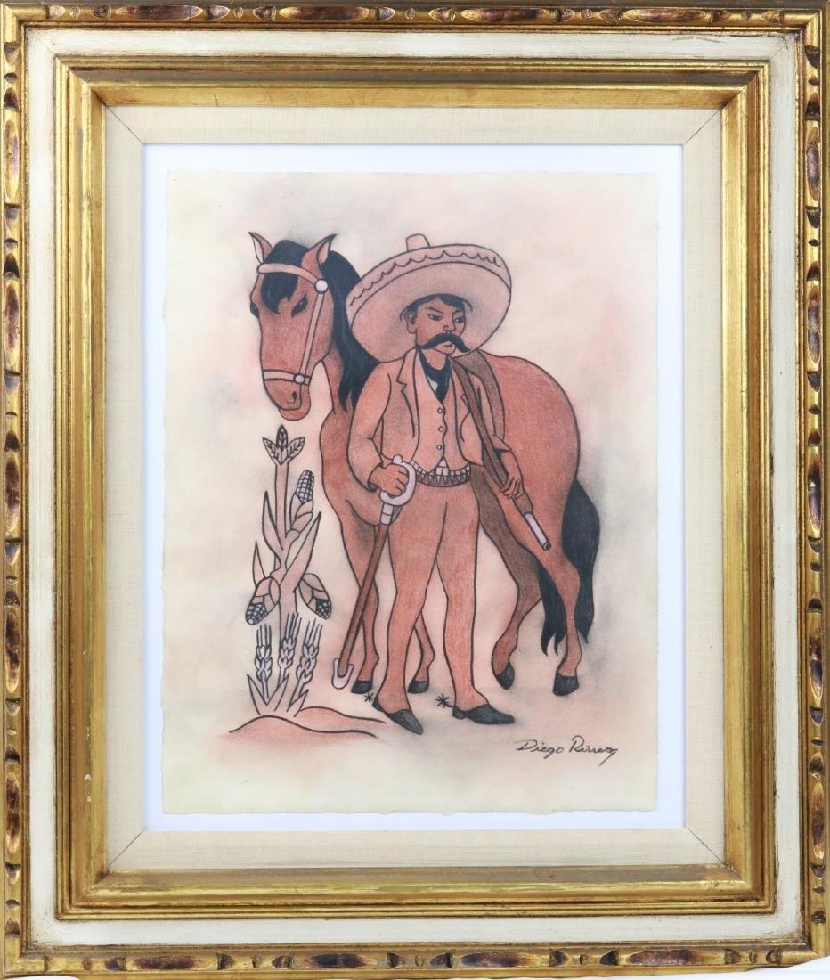 """Diego Rivera 1930s """"Emiliano Zapata Estudio"""" W/COA"""