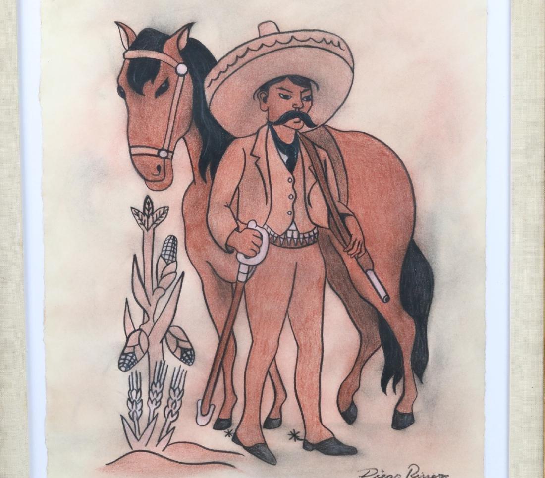 """Diego Rivera 1930s """"Emiliano Zapata Estudio"""" W/COA - 2"""