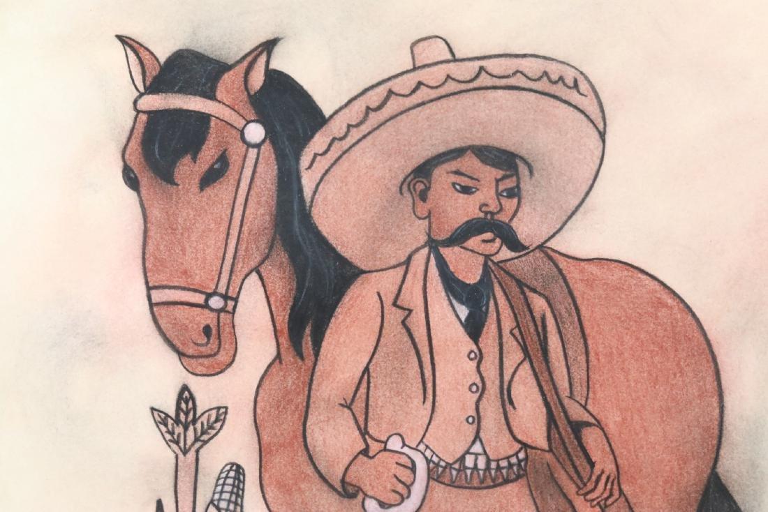 """Diego Rivera 1930s """"Emiliano Zapata Estudio"""" W/COA - 3"""