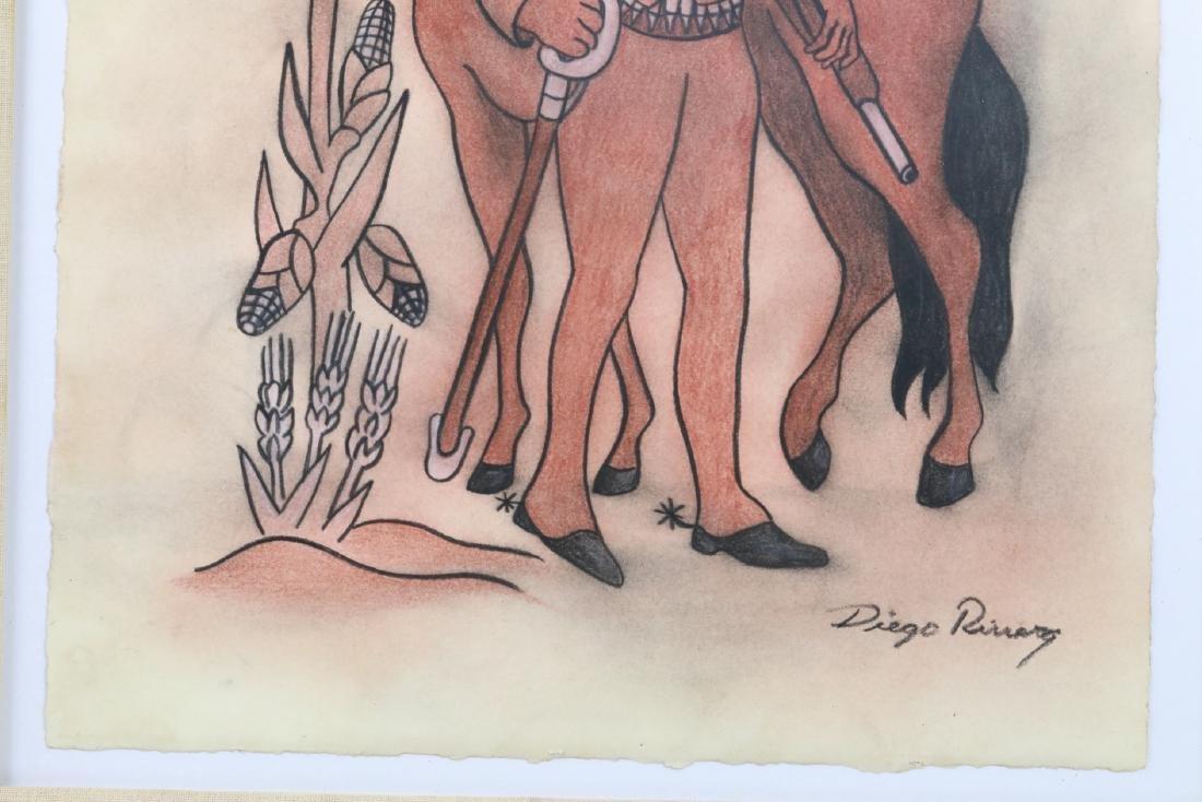 """Diego Rivera 1930s """"Emiliano Zapata Estudio"""" W/COA - 4"""