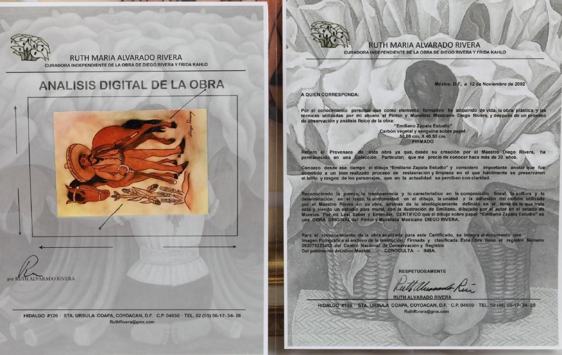 """Diego Rivera 1930s """"Emiliano Zapata Estudio"""" W/COA - 6"""