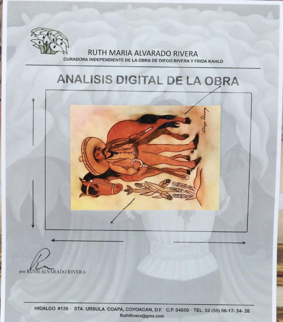 """Diego Rivera 1930s """"Emiliano Zapata Estudio"""" W/COA - 7"""
