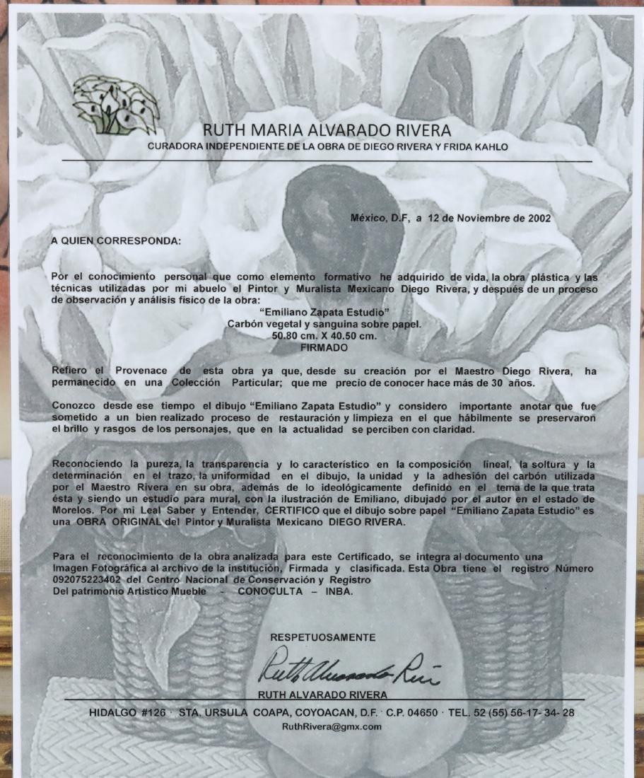 """Diego Rivera 1930s """"Emiliano Zapata Estudio"""" W/COA - 8"""