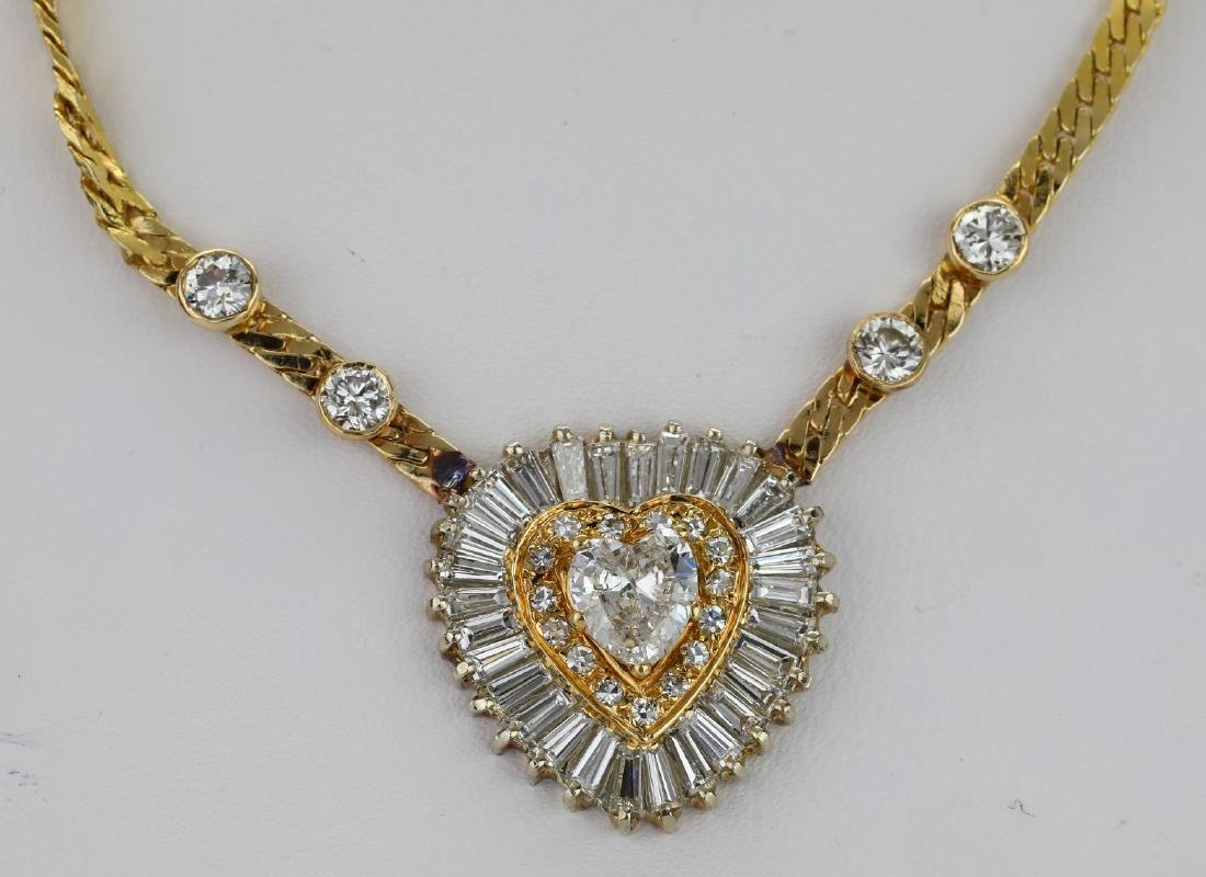 "4.50ctw SI1-SI2/G-H Diamond 14K 16"" Heart Necklace"