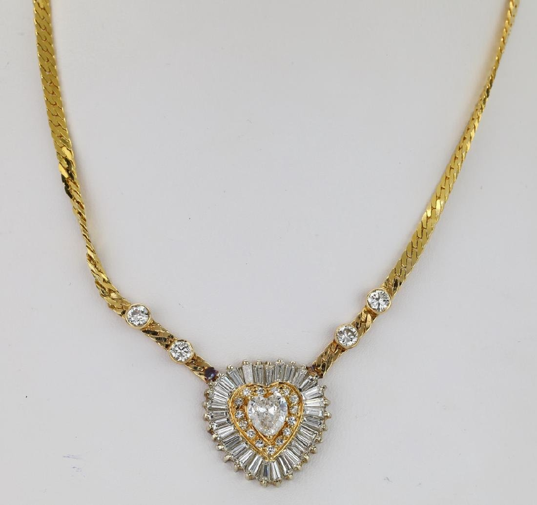 "4.50ctw SI1-SI2/G-H Diamond 14K 16"" Heart Necklace - 2"