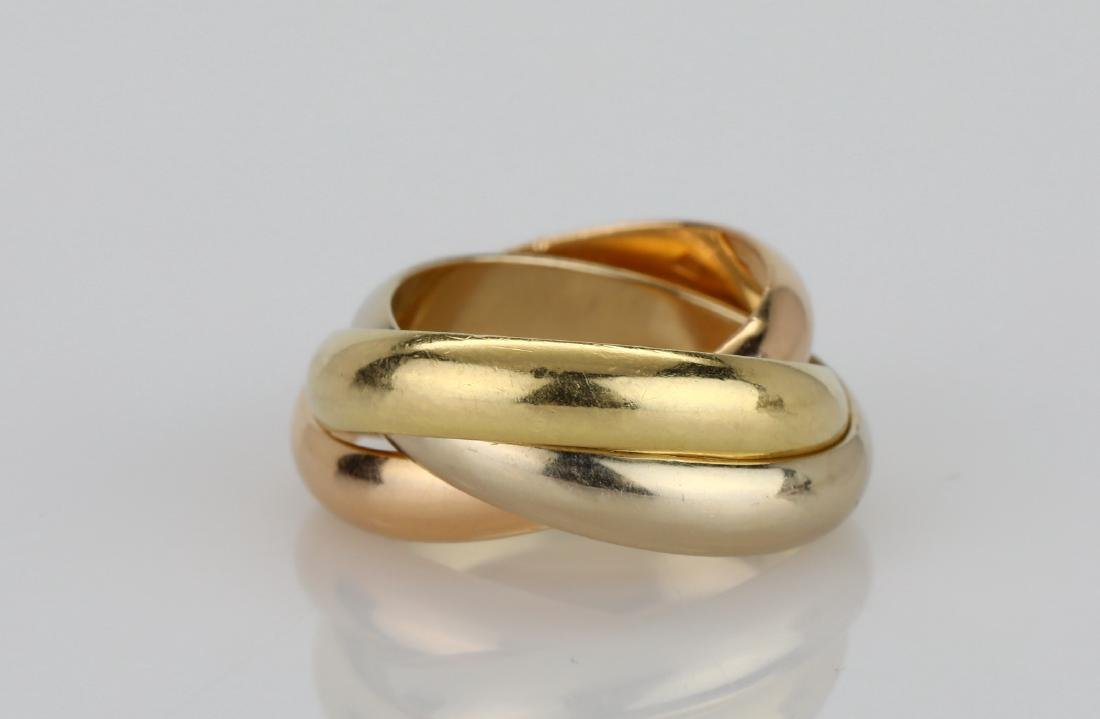 Cartier 1997 18K Tri-Color Gold Trinity Ring - 2