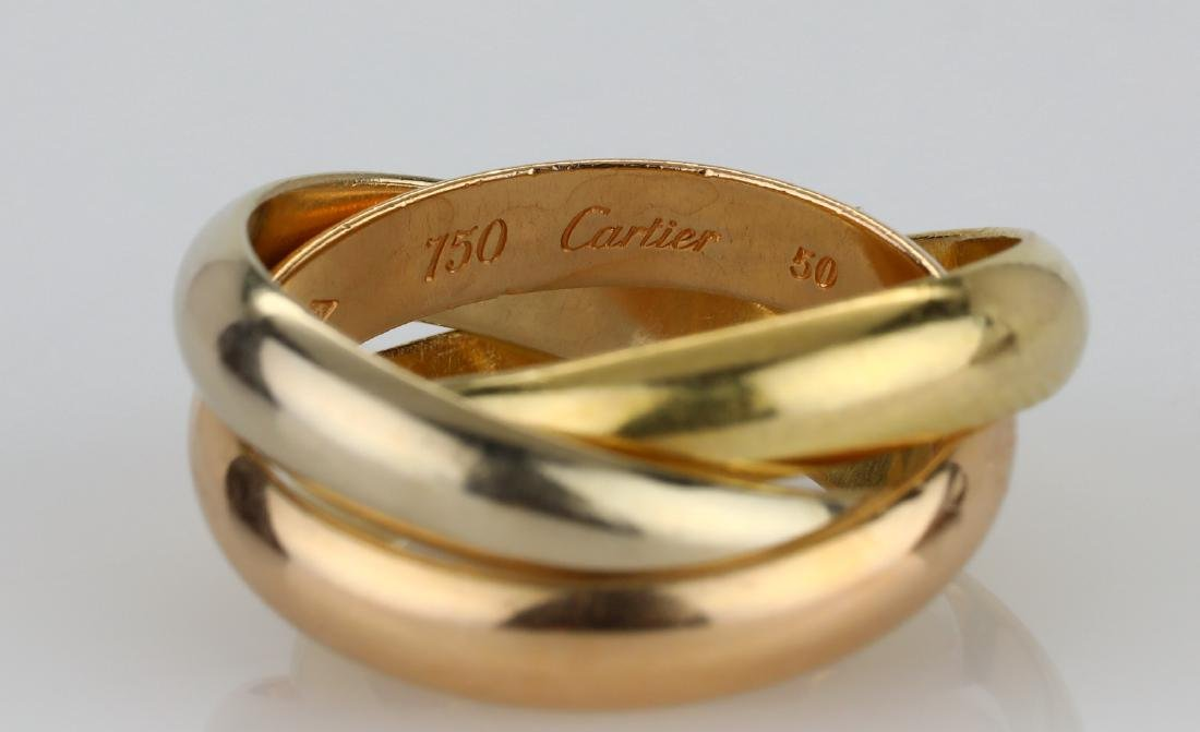 Cartier 1997 18K Tri-Color Gold Trinity Ring - 3