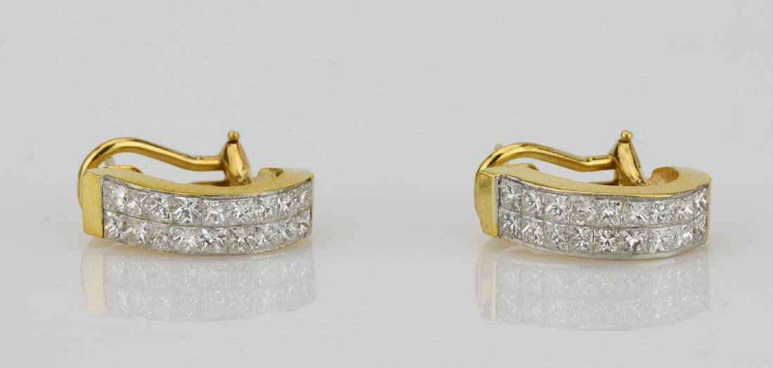 "3.50ctw VS1-VS2/G-H Diamond & 18K 0.75"" Earrings"