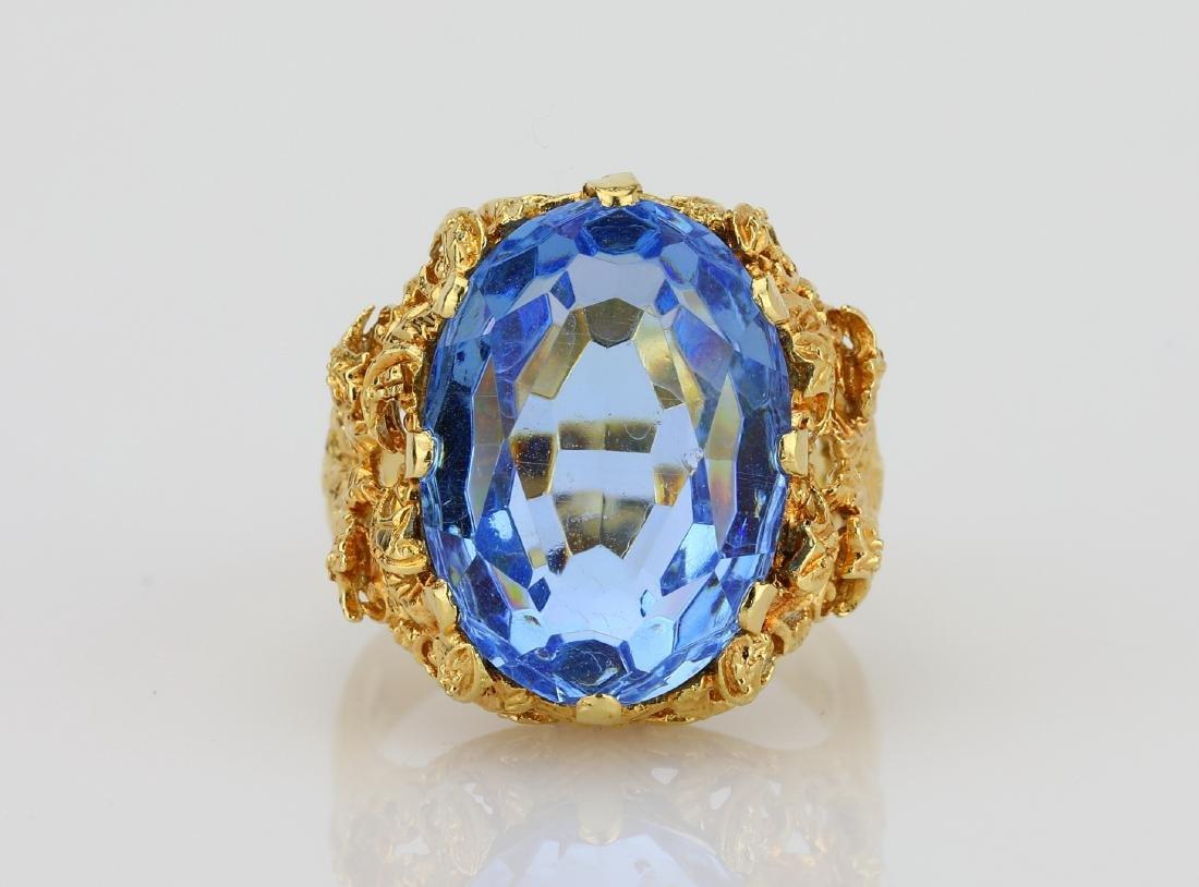 11ct Blue Sapphire & 18K Ring W/Filigree Details
