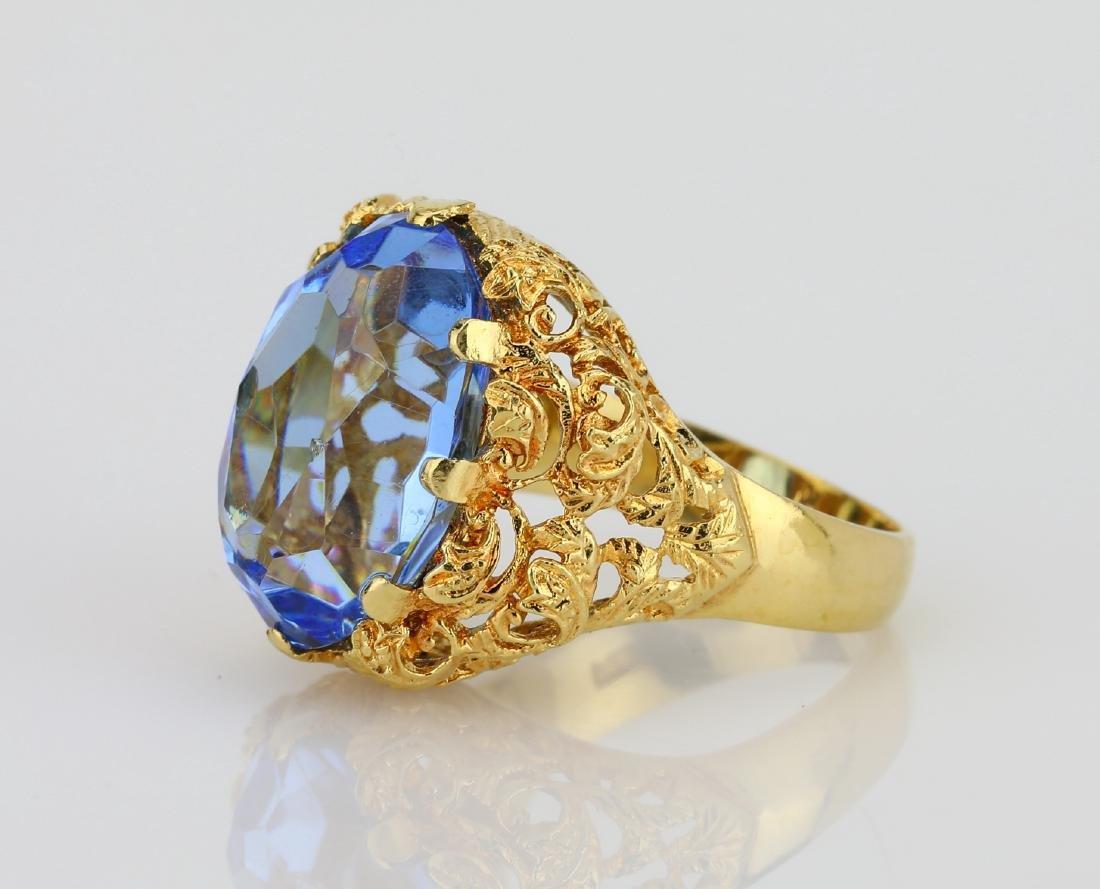 11ct Blue Sapphire & 18K Ring W/Filigree Details - 2