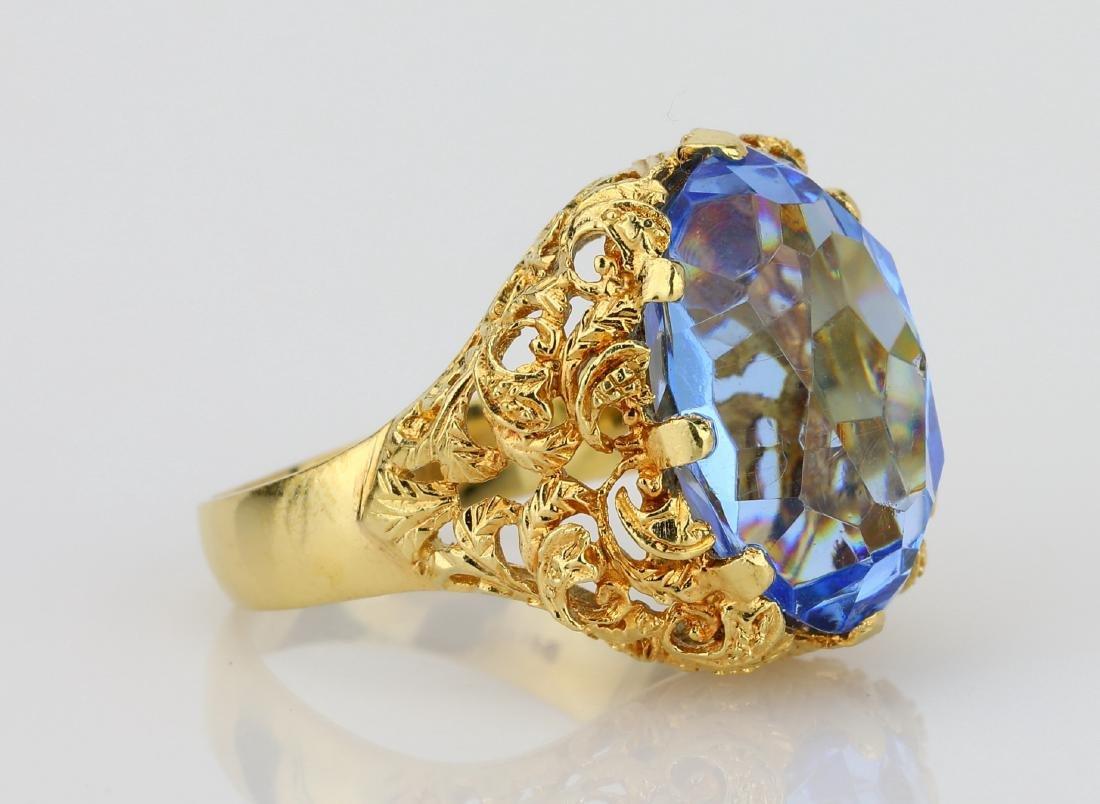 11ct Blue Sapphire & 18K Ring W/Filigree Details - 3