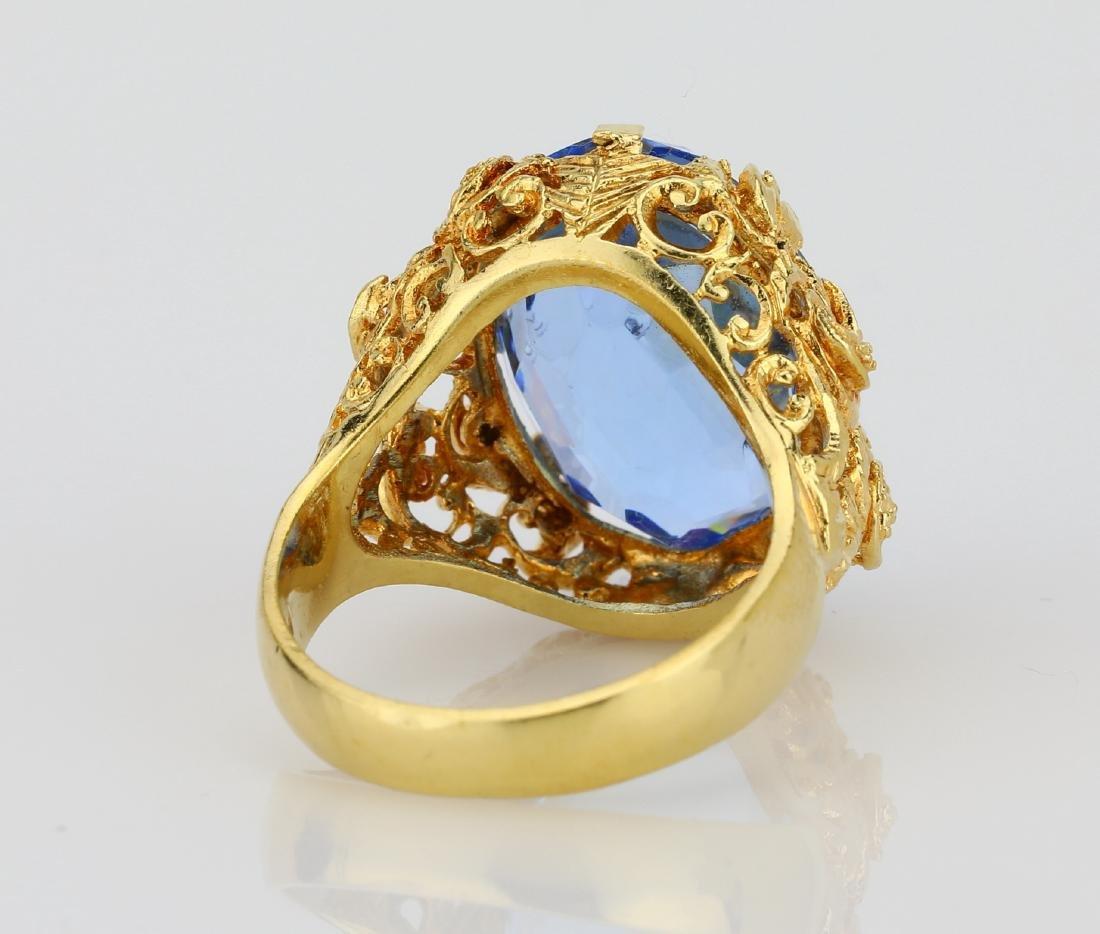 11ct Blue Sapphire & 18K Ring W/Filigree Details - 4