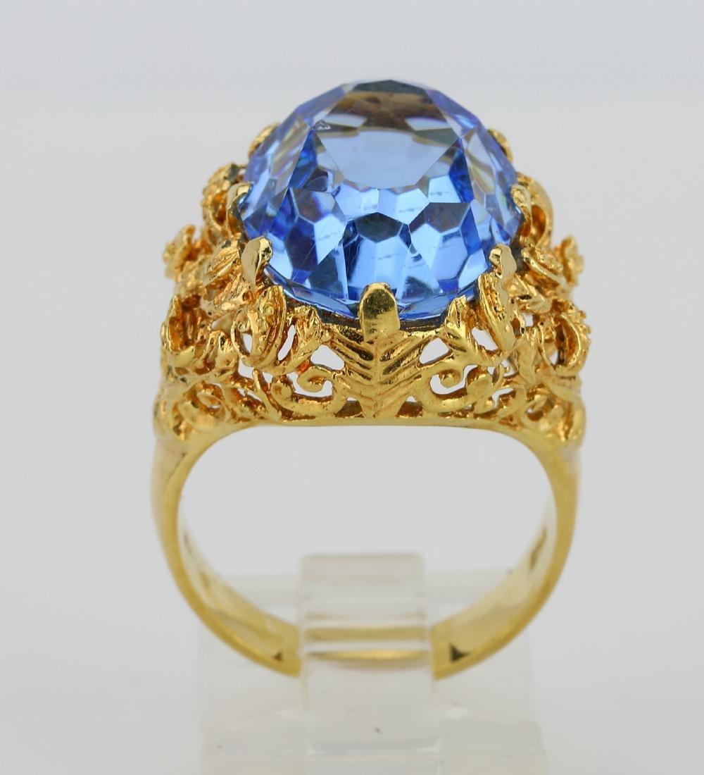 11ct Blue Sapphire & 18K Ring W/Filigree Details - 5