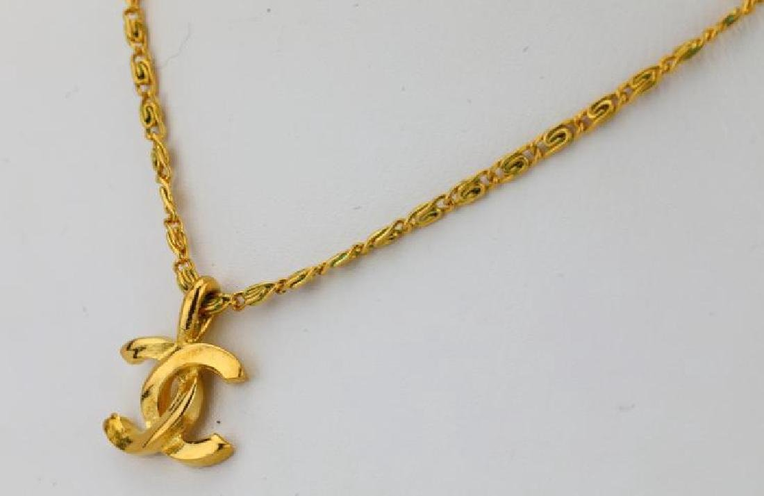 "Chanel 1982 Gold Tone 16"" CC Logo Necklace - 3"