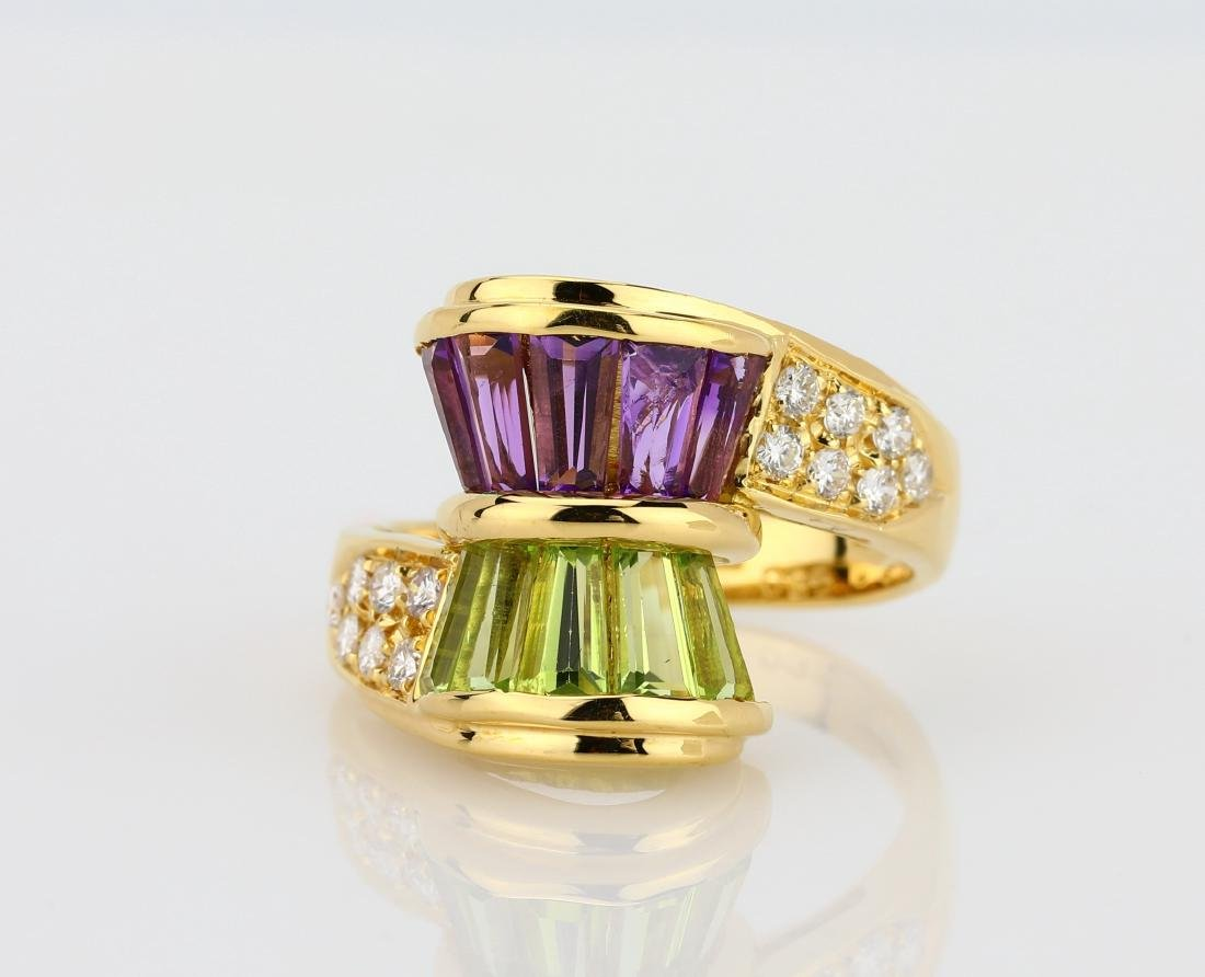 3.00ctw Peridot & Amethyst 18K Ring W/Diamonds