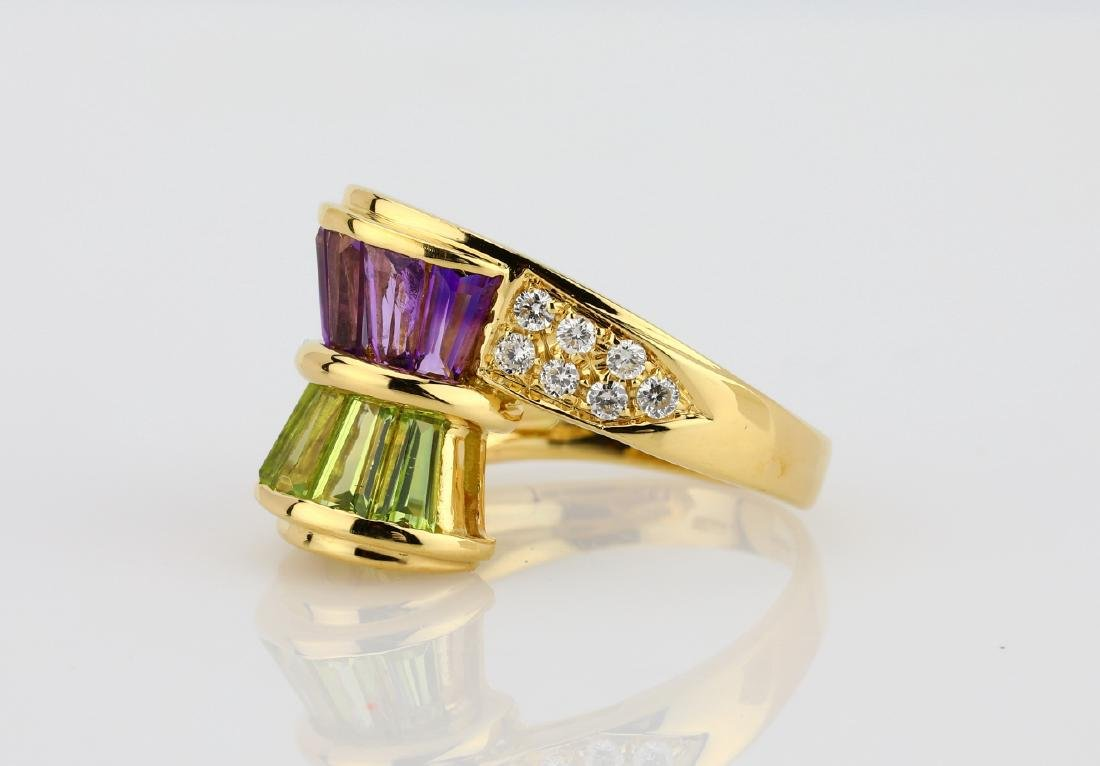 3.00ctw Peridot & Amethyst 18K Ring W/Diamonds - 2