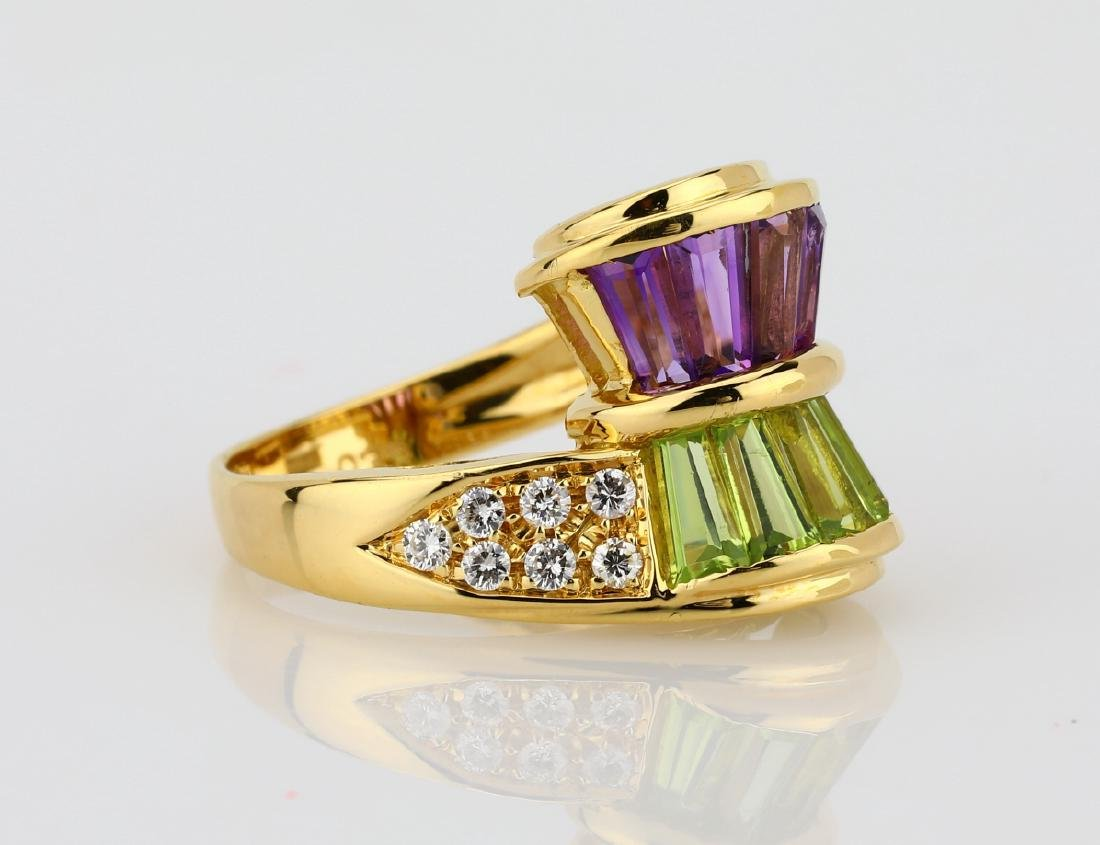3.00ctw Peridot & Amethyst 18K Ring W/Diamonds - 3