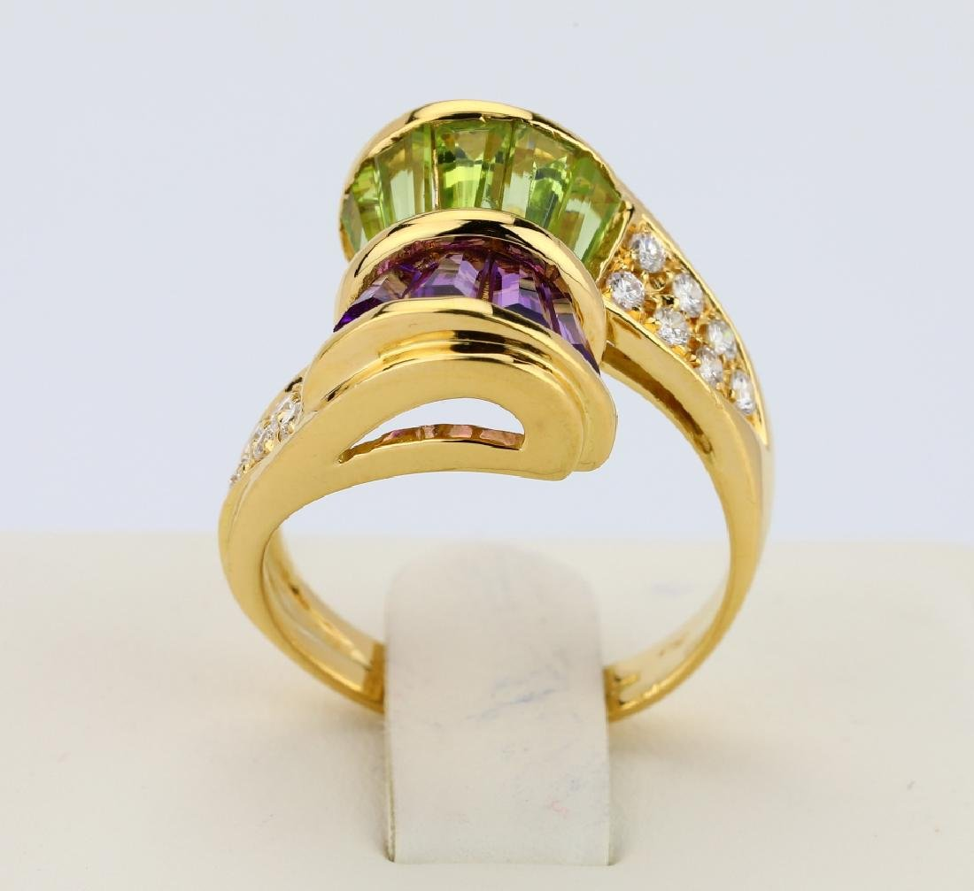 3.00ctw Peridot & Amethyst 18K Ring W/Diamonds - 5
